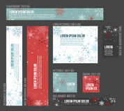 8 Standard size winter christmas banner templates Stock Images