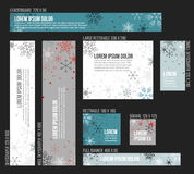 8 Standard size winter christmas banner templates Stock Image