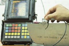 Standard sond för kalibrering av det ultraljuds- provet Arkivfoton