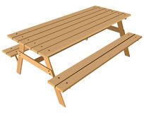 Standard table with benches Stock Images