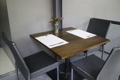 Standard table setting of hotel restaurant. Stock photo Royalty Free Stock Photography