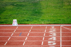 The standard track and field runway Stock Images
