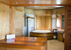 Standard tropical interior of the bathroom Stock Image