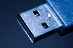 Standard usb plug. On dark background ,photography by a macro lens Stock Photography