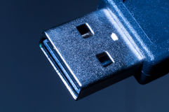 Standard usb plug. On dark background ,photography by a macro lens Royalty Free Stock Images