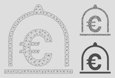 Standard vektor Mesh Wire Frame Model för euro och mosaisk symbol för triangel royaltyfri illustrationer