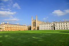 Standard view of King`s College in Cambridge University. The University of Cambridge is made up of 31 different colleges, among which King`s College, Queen`s Royalty Free Stock Photos