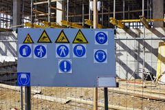 Standard warning signs on building