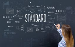 Standard with young woman. Writing on a blackboard stock photo
