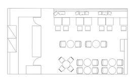 Standarda kafémöblemangsymboler på golvplan stock illustrationer
