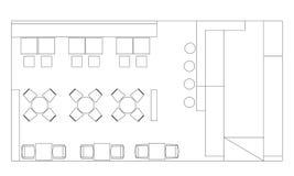 Standarda kafémöblemangsymboler på golvplan royaltyfri illustrationer