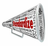 Standardize Bullhorn Megaphone Common Testing. Standardize words on bullhorn or megaphone to illustrate common measurement, testing or comparison Royalty Free Stock Image