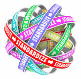 Standardize Word Roads Cycle Consistent Method Process System. Standardize word on colored ribbons in a ball to illustrate a systemized, consistent, organized royalty free illustration