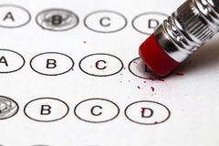 Standardized quiz or test score sheet with multiple choice answe Royalty Free Stock Photo