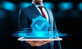 Standardqualitätssteuerbescheinigungs-Versicherungs-Garantie-Internet-Geschäfts-Technologie-Konzept stockbild