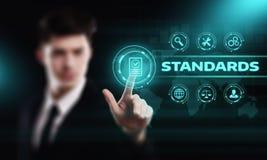 Standardqualitätssteuerbescheinigungs-Versicherungs-Garantie-Internet-Geschäfts-Technologie-Konzept stockfotografie