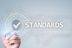 Standards, Quality Control, Assurance, ISO, Checkbox on virtual screen. stock image