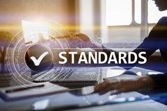 Standards, Quality Control, Assurance, ISO, Checkbox on virtual screen. Standards, Quality Control, Assurance ISO, Checkbox on virtual screen stock photo