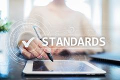 Standards, Quality Control, Assurance, ISO, Checkbox on virtual screen. Standards, Quality Control Assurance, ISO, Checkbox on virtual screen vector illustration