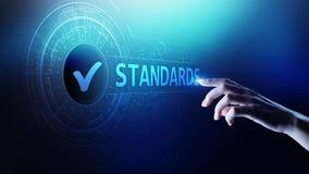 standardt Kvalitets- kontrollera Iso-attestering, försäkring och garanti Begrepp för internetaffärsteknologi royaltyfri illustrationer