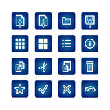 Standart computer commands icons set. On the blue background Stock Photography