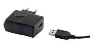 Standart de fiche d'usb de chargeur de téléphone portable d'isolement Image libre de droits