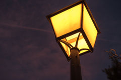 Standart lamp on at night Royalty Free Stock Image