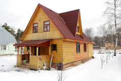 Standart Russian village house. Standart modern Russian village cottage (izba stock photos
