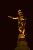 Standbeeld bij nacht Royalty-vrije Stock Foto's