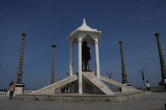 Standbeeld bij Pondicherry-Strand, India royalty-vrije stock foto's