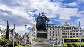 Standbeeld die de unie van het kanton van Genève herdenken aan Sw stock foto's