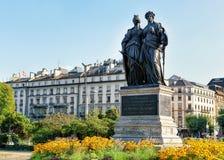Standbeeld die van Genève van Zwitserland in Engelse Tuin van Genève lid worden Stock Foto