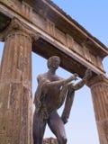 Standbeeld in het Forum van de eens begraven stad van Pompei Italië Stock Afbeeldingen