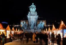 Standbeeld marie-Theresa en de Markt van Kerstmis, Wenen Royalty-vrije Stock Afbeelding