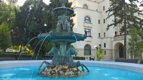 Standbeeld met naakte meisjes, paarden en water in Brasov, Roemenië Stock Foto's
