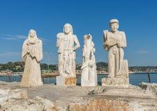 Standbeeld op haven - Ascoli Piceno - Italië stock foto