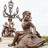 Standbeeld op Pont Alexandre III Stock Fotografie