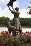 Standbeeld op quayside van Savannah River in Savanne in Georgië de V.S. Stock Foto's