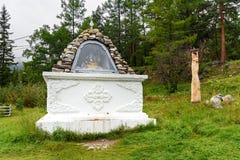Standbeeld Sagaan Ubgen, Witte Oude Mens in Arshan Rusland Royalty-vrije Stock Foto's