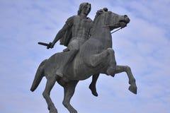 Standbeeld van Alexander The Great, Thessaloniki, Griekenland royalty-vrije stock foto