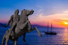 Standbeeld van Alexander Groot bij Thessaloniki stad, Griekenland Royalty-vrije Stock Fotografie