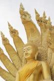 Standbeeld van Boedha met negen leidde serpent Stock Afbeeldingen