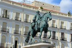 Standbeeld van Carlos III in Puerta del Sol, Madrid, Spanje Stock Foto