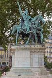 Standbeeld van Charlemagne en zijn wachten royalty-vrije stock foto
