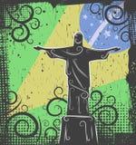Standbeeld van Christus de achtergrond van de Verlosser Stock Afbeelding