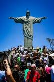 Standbeeld van Christus de Verlosser, Corcovado-Berg, Rio de Janeiro, Brazilië Royalty-vrije Stock Fotografie