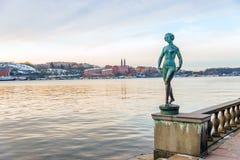 Standbeeld van danser op de dijk dichtbij het Stadhuis in Stockho Royalty-vrije Stock Foto