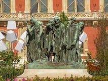 Standbeeld van de burgers van Calais voor het stadhuis royalty-vrije stock foto's