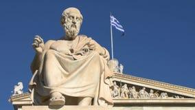 Standbeeld van de Griekse filosoof Plato stock video