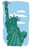 Standbeeld van de holdingsmicrofoon van de Vrijheid Stock Afbeeldingen